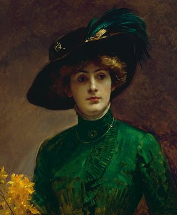 Portrait of a Lady - Raimundo de Madrazo y Garreta, circa 1900-10. Such a verdant green