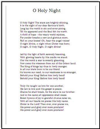 Oh Holy Night lyrics, Music-for-Music-Teachers.com  - Josh Groban Version