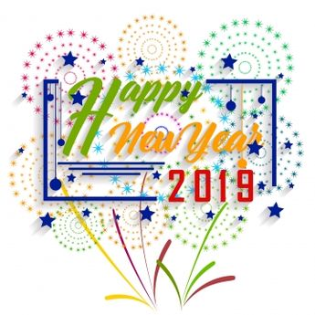 Happy New Year 2019 And Holidays Concept With Firework Displayed, 2019, Abstract PNG and Vector with Transparent Background for Free Download