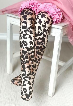 Girls Ruffle Knee High Socks / Leopard