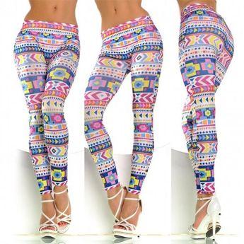 770dd547f6cdb Women Stylish Leggings Pop Tribal Pattern Printing Thin Tights Pants  Elastic New