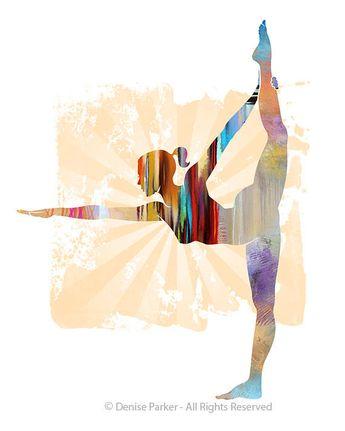 Yoga STANDING BOW POSE Sun Colors - Small - Yoga Artwork, Yoga Pose, Yoga Artwork, Yoga Print, Giclée Print, Contemporary Yoga Art