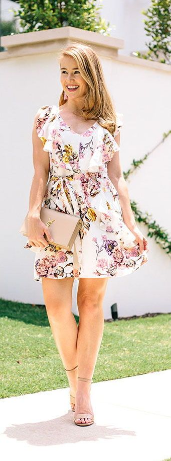 floral dress under $100 || LonestarSouthern.com #floral #dress #under$100 #nudeheels #nudeclutch #pink #tassel #earrings