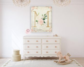Boho Baby Monogram Initial Personalized Wall Art Print Initials Gold Blush  Cream Mint Watercolor Floral Vintage