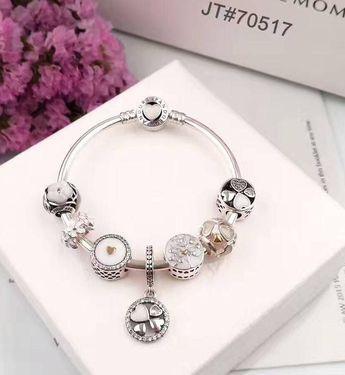 Crystal white love theme pandora charm bracelet