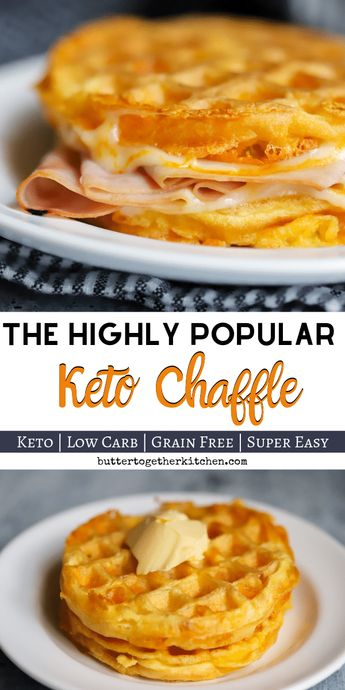 Traditional Keto Chaffle - Highly popular cheese waffles is delicious and can be made in a variety of different ways! Very low in carbs and great for sandwiches! #ketochaffle #ketobread #ketosandwich #chaffle | buttertogetherkitchen.com