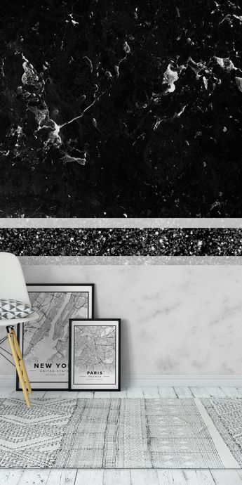 Black and White Marble Black 1 Wall Mural / Wallpaper Surface