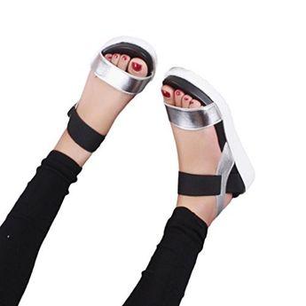 8067286bfc49e OHQ Muffin Bouche Poisson avec Sandales Confortables Pour Femmes Argent  Noir Blanc D Été Chaussures