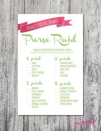 bridal shower purse game digital download by rachelsworkroom
