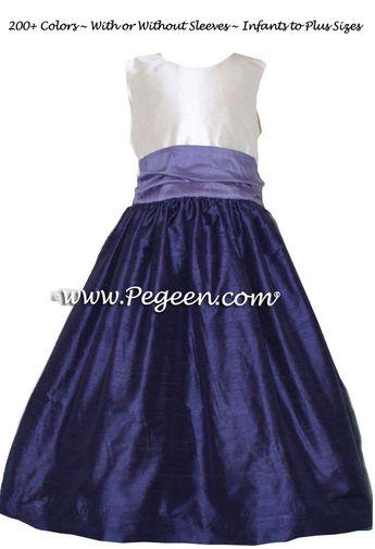 3770f3f8d67 Grape (deep purple-blue) and Periwinkle Silk Flower Girl Dresses