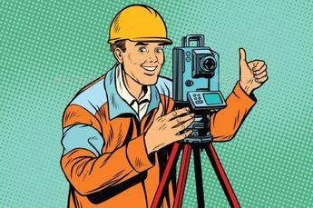 Builder Surveyor with a Theodolite Optical by studiostoks Builder surveyor with a theodolite optical instrument for measuring distances. Pop art retro vector illustration