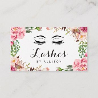 8654618cdbd Eyelashes Makeup Artist Romantic Floral Wrapping Business Card | Zazzle.com