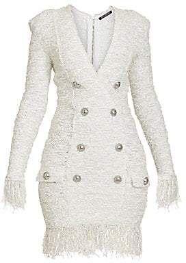 Balmain Women's Fringed Tweed Button Mini Dress