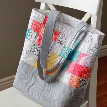 Scrappy Quilted Tote Bag