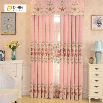 DIHIN HOME Pink High Quality Embroidered Valance ,Blackout Curtains Grommet Window Curtain for Living Room ,52x84-inch,1 Panel