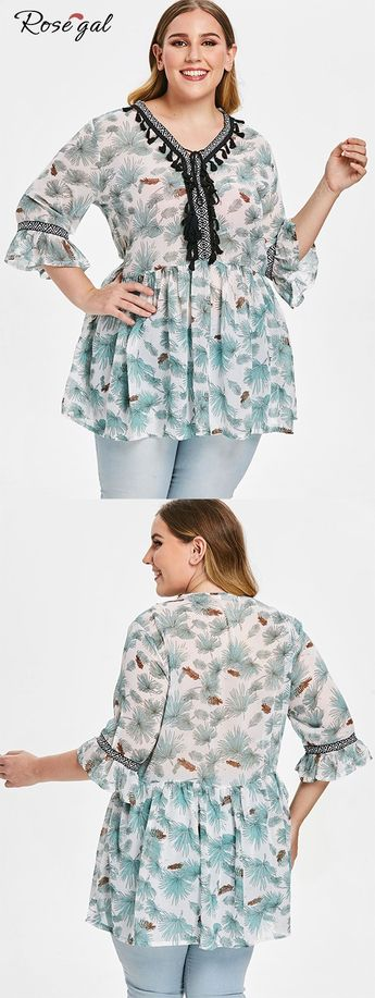 Plus Size Spring Sheer Blouse Cool Tissue with Tassels Printed  #Rosegal #blouse #womenfashion #spring #summer
