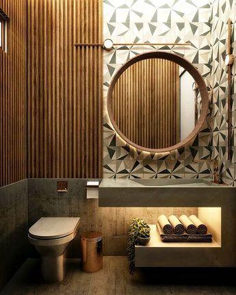 Bem bonito este #lavabo  não acham?  from @grutta.arq - [33] Lavabo Strato  Madeira concreto luzes e formas. Destaque para o revestimento Biancogres Clark da @biancogres .  Autoral: @gabrieldcarvalhon  #arquitetura #arq #inspiracao #arquiteturainteriores #madeira #interiores #casa #aptopequeno #aptodecorado