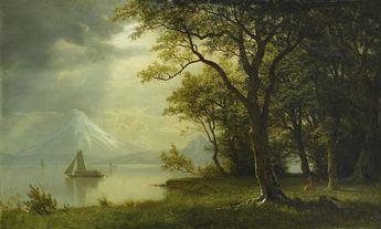 Albert Bierstadt (1830 - 1902), MOUNT HOOD, COLUMBIA RIVER