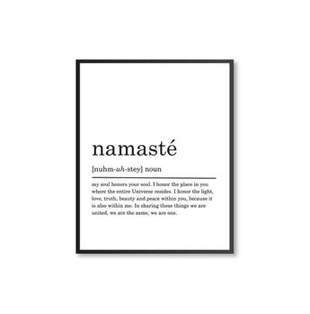 Namasté Definition Print, PRINTABLE art, Namasté poster, Namasté print, Printable Poster, Modern Hom
