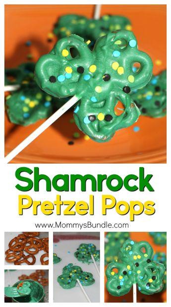 Shamrock Pretzel Pops {St. Patrick's Day Recipe + Printable}