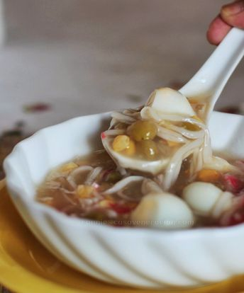 Japanese-style crab and corn soup reloaded (this time, with quail eggs)