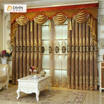 DIHIN HOME Brown Noble Elegant Embroidered Valance ,Blackout Curtains Grommet Window Curtain for Living Room ,52x84-inch,1 Panel