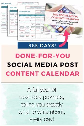 365 Day Social Media Content Calendar