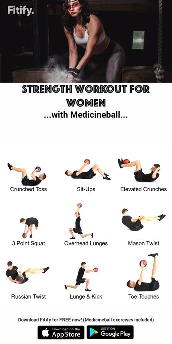 Strong & Fit - Full body training with a Medicineball Combination of upper body, core and lower body strength exercises. Download Fitify for FREE now! (Medicineball exercises included) Fitify is a video coaching app, which gives you full workout sessions with Medicineball, Dumbbell, TRX, Kettlebell and bodyweight. #medicineball #workout #exercises #workoutapp #fitnessapp