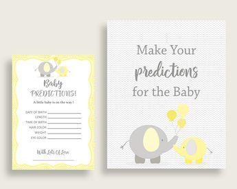 Baby Predictions Baby Shower Baby Predictions Yellow Baby Shower Baby Predictions Baby Shower Elephant Baby Predictions Yellow Gray W6ZPZ #babyshowerparty #babyshowerinvites