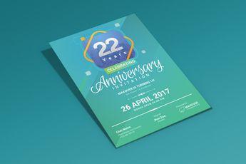 Ares Elegant Anniversary Invitation Template - Graphic Templates