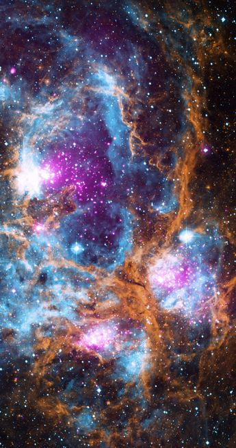 This composite image of NGC 6357 contains X-ray data from NASA's Chandra X-ray Observatory and the ROSAT telescope (purple), infrared data from NASA's Spitzer Space Telescope (orange), and optical data from the Super Cosmos Sky Survey (blue) made by the United Kingdom Infrared Telescope.