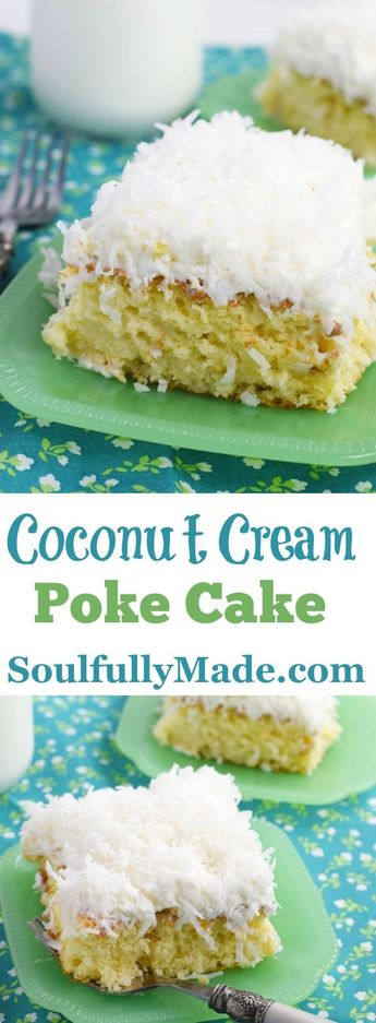 Moist delicious white cake drenched in sweetened coconut milk and topped with whipped topping and coconut makes up this decadent Coconut Cream Poke Cake! #Coconutcake #PokeCake #CoconutCreamCake #coconutcreampokecake #eastercake
