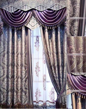 Elegant and Charming European Purple patterned curtains (No Include Valance)