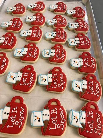 Let It Snow Theme Cookies   Marshmallow Mug Cookies   Winter Christmas Theme   Snowman