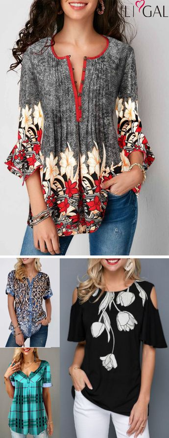 pretty spring summer tops, cute tops, retro flower print t shirts, casual blouses, #freeshipping worldwide and easy returns, #coupons $4 off over $56, $7 off over $80, code: liligal2019. Click and find the 2019 #tshirt #blouse trends in #liligal.