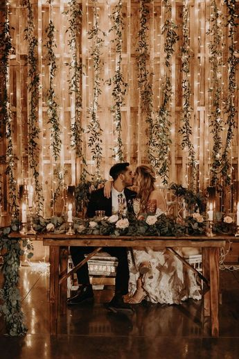 Sparkling backdrop in reception at Paseo Wedding venue in Arizona desert. Photo by Erika Greene Photography.