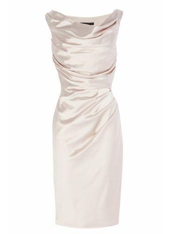 Sheath Bateau Sleeveless Light Champagne Elastic Satin Mother of the Bride Dress