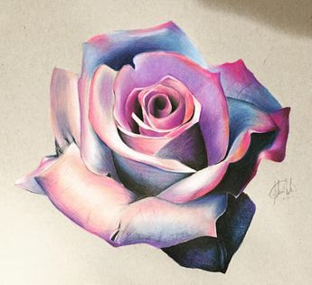 ORIGINAL Colorful Flower Drawing - Blue and Pink - Wall Art - Colorful Flower
