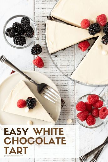 Winter, Spring, summer or fall, this Make-Ahead Easy White Chocolate Tart recipe is the perfect sweet ending to any gathering! #desserts #irishcream #chocolate #easyrecipe #makeahead #tarts