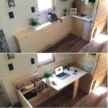 Bom dia ! Ideia de mesa office para pequenos espaços. Projeto via @tinyhousecreative  #ideiasdiferentes #referencia
