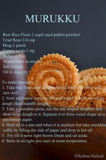 Murukku is a crispy south Indian snack made of rice and urad dal. It is mixed to form a dough along with some spices. Then it is shaped to s...