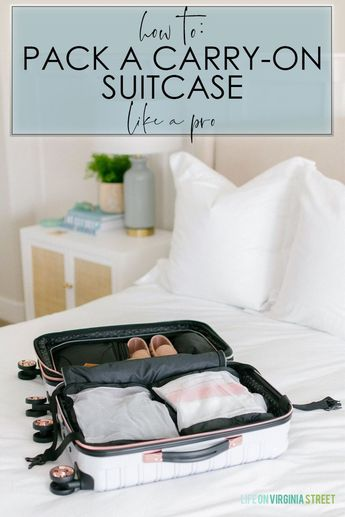 A detailed tutorial with travel day outfit ideas and tips on how to pack a carry-on suitcase like a pro!