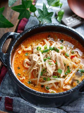 豚バラもやしのスタミナ♡ごま味噌スープ【#簡単 #節約 #時短 #包丁不要 #スープ #おかずスープ】 : 作り置き&スピードおかず de おうちバル 〜yuu's stylish bar〜