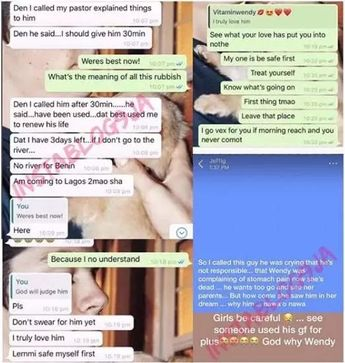 A suspected ritual story involving popular video vixen/model Wendy and her boyfriend, Best Jide, is currently developing in Benin, Edo Stat...