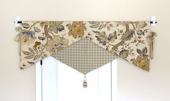 Decorative Reversible Valance For Kitchen Bathroom Triangle Valance Curtain Yellow Grey Beige Triangle Window Curtain, Scallop Style Valance