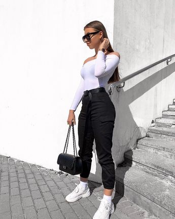 High Waisted Utility Cargo Fitted Joggers Trousers Black