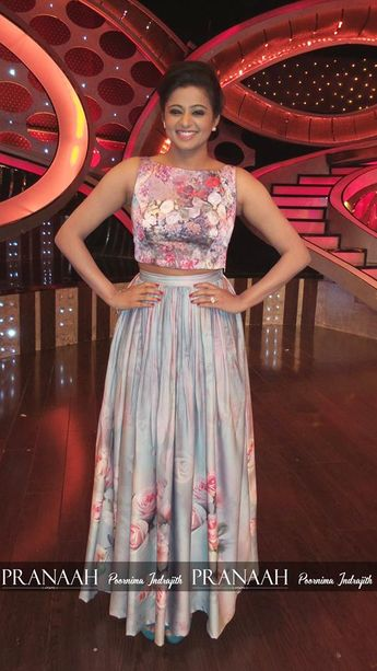 779d7816e Priyamani in grey coloured floral skirt topped with pink coloured floral top .