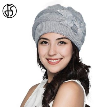 Elegant Winter Gray Knit Women Double Layer Rabbit Hair Hats 857df5e8ced5