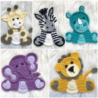Crochet Pattern - INSTANT PDF DOWNLOAD - Zoo Animals - Crochet Zoo Animals - Crochet Patterns - Appliqué Patterns - Zebra - Elephant - Rhino