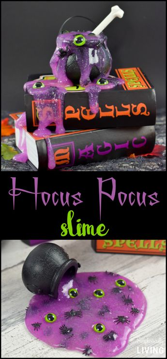 Hocus Pocus Slime - a wickedly brewed slime that is sure to intrigue your friends and family. So easy to make, it's scary! #hocuspocus #slime #halloweenslime #easyslime #boraxfreeslime | simplisticallyliving.com